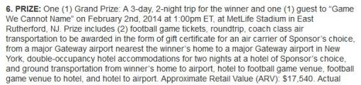 Pssssst....  you win a trip to the Super Bowl.  That's what is happening on that day, time, and location.